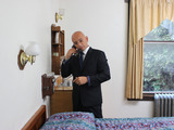 Season 4 Premiere: Anthony Melchiorri discovers the hotel rooms are a mix of old and older items. A vintage phone on the wall is fun and unique, but not properly utilized within the room's  décor.