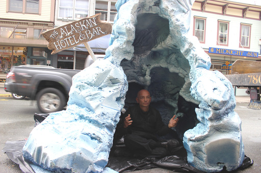 "Season 4 Premiere: Anthony Melchiorri poses inside a custom ""glacier"" for the Alaskan Hotel & Bar."