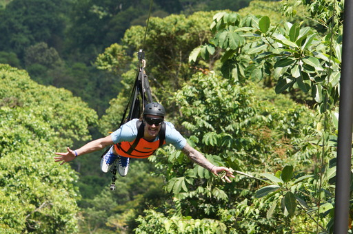 "Costa Rica: ""Trip Flip"" traveler Gabe races head first at 90 mph on one of the world's longest zip  lines."