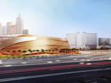 View of the new Las Vegas arena from west of The Strip.  Scheduled to open in 2016 the 20,000-seat arena is a partnership between AEG and MGM Resorts International.