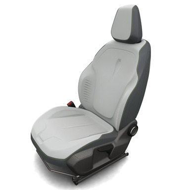 Faurecia has transformed the relationship between seats and seating covers, in which the seat accommodates creative sculpted covers, with embedded 3D effects and customized markings