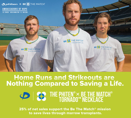 Phiten® x Be The Match® Ambassadors of Hope, J.B. Shuck, Josh Hamilton and C.J. Wilson proudly wear the Phiten® x Be The Match® Tornado™ Necklace.