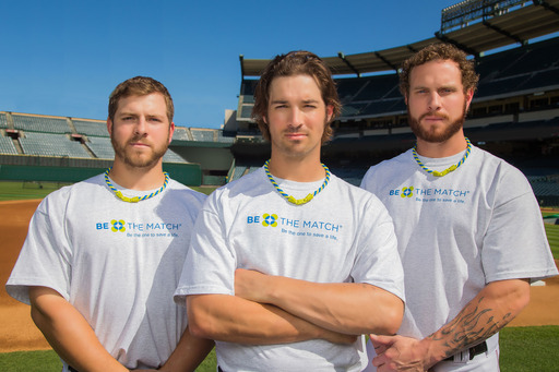 Pro baseball players J.B. Shuck, C.J. Wilson and Josh Hamilton wear the Phiten® x Be The Match® Tornado™ Necklace, ask fans to help eliminate blood cancer by buying a necklace & joining the registry.