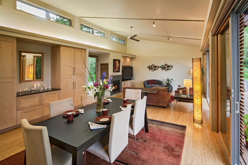 The Glidehouse's stunning location features views of Mt. Rainier and the Pacific Ocean.