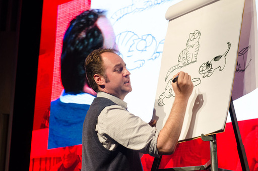 "Simon Tofield, cartoonist of ""Simon's Cat,"" the animated cartoon series with more than 25 million fans, described how cats and cartoons have changed his life at the Purina ""Better With Pets"" Summit."