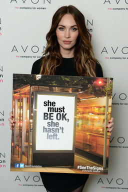 Megan Fox in New York City to support the global launch of Avon's new Facebook campaign, #SeeTheSigns of Domestic Violence.