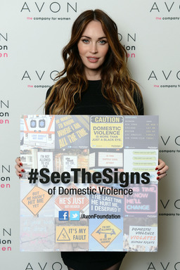 Actress Megan Fox in New York City where she helped Avon launch the #SeeTheSigns of Domestic Violence global social media campaign.