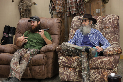 Jase and Si Robertson on location at Duck Commander warehouse, shooting Hallmark #birthdayfail campaign videos