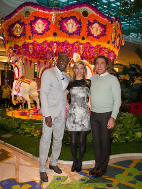 Steve and Andrea Wynn and event designer, Preston Bailey, unveil floral carousel at Wynn Las Vegas