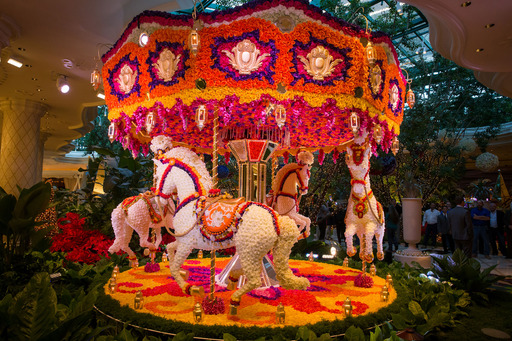 Floral carousel, designed by Preston Bailey, unveiled at Wynn Las Vegas