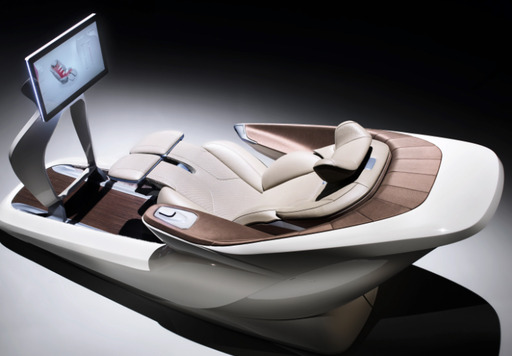 The definition of luxury, Faurecia's Oasis seat offers separate positions for working, entertainment and relaxation, with surround-sound speakers, HMI touch and gesture controls, and 20 massage cells.