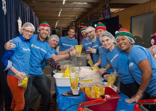 On Hasbro's Global Day of Joy, Team Hasbro employees join Hasbro President and CEO Brian Goldner in preparing more than 136,000 meals for families in need in partnership with Outreach, Inc.