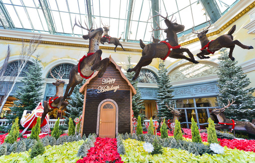 Chocolate house and moss-embellished reindeers at Bellagio's Conservatory & Botanical Gardens