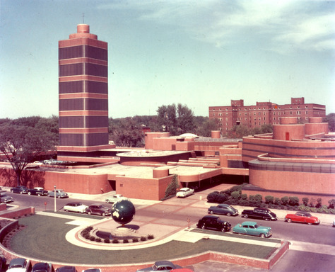 Historic Frank Lloyd Wright-designed Research Tower and Administrative Building on SC Johnson's campus in Racine, Wisc. in 1955.