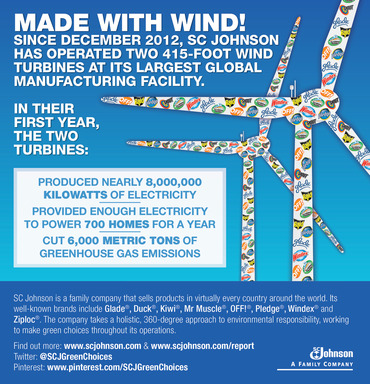 The two 415-foot wind turbines at Waxdale, SC Johnson's largest global manufacturing facility and the production site for Windex®, cut 6,000 metric tons of greenhouse gas emissions this past year.