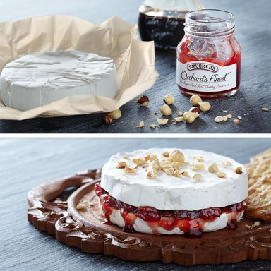 Cherry-Filled Camembert:  Smucker's® Orchard's Finest® Michigan Red Tart Cherry Preserves + Balsamic Vinegar + Camembert Cheese + Chopped Hazelnuts