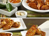 Teriyaki Wings with Spicy Peach Mango Sauce:  Smucker's® Peach Mango Preserves + Garlic + Jalapeno Peppers + Teriyaki Chicken