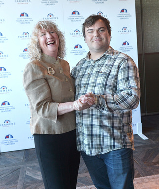 Actor/Comedian Jack Black and his High School teacher Debbie Devine at launch of Thank A Million Teachers program in Los Angeles, Black's thank you of Ms. Devine launched Thank A Million Teachers