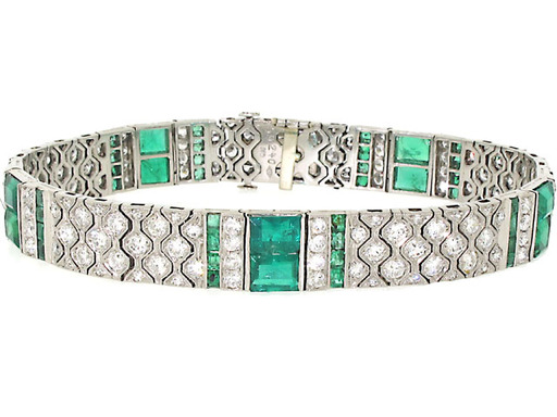 (Semiformal Dress Code Tip) Art Deco bracelet with emeralds and diamonds set in platinum by Beladora