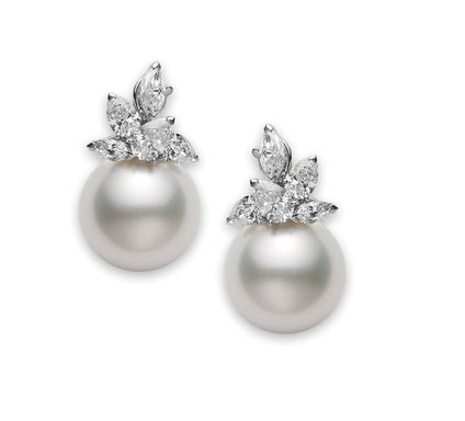 (Winter Festive Dress Code) White south sea cultured pearl and diamond earrings set in platinum by Mikimoto