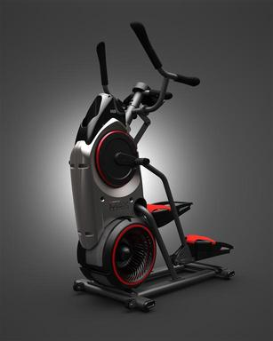 Inspired by a motorcycle's lean and aggressive profile, Bowflex MAX Trainer's design incorporates a calorie gauge that mimics a speedometer showing calories burned per minute and an audio bell that alerts the user to each interval period.
