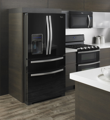 Whirlpool brand's refrigerator with the CoolVox™ sound system, seamlessly connects with any Bluetooth® enabled device to infuse entertainment into everyday kitchen moments.
