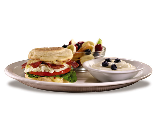 The new 'Fit Fare® Breakfast Sandwich Plate' offers guilt-free dining packed full of flavor; served with yoghurt and a side of seasonal fruit