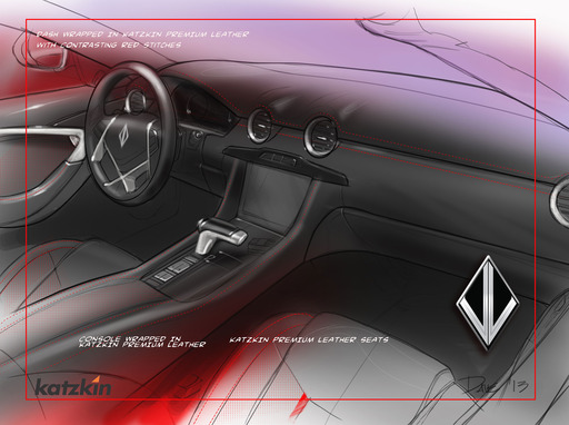 The elegance of VL's concept Destino is further enriched by its beautifully sculpted luxury instrument panel, trimmed in premium grade Katzkin leather with red accent stitching.