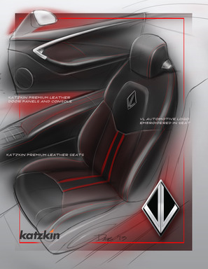 Premium Katzkin leather wraps the interior space of VL's ultra-premium concept Destino, including the front seat, center console and door for a luxurious look and feel.