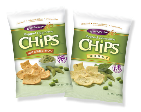 Crunchmaster Popped Edamame Chips are made with a blend of pure California Rice and real Edamame. They are Non-GMO verified, Gluten Free, and available in two flavors; Sea Salt and Wasabi Soy.
