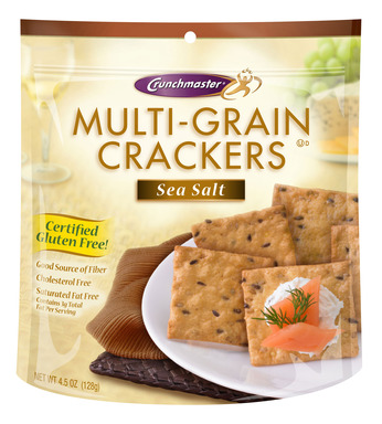 "Crunchmaster, the ""Crunch You Crave"". Our Certified Gluten Free Multi-Grain crackers are available in 3 delicious flavors: Sea Salt, White Cheddar and Roasted Vegetable."