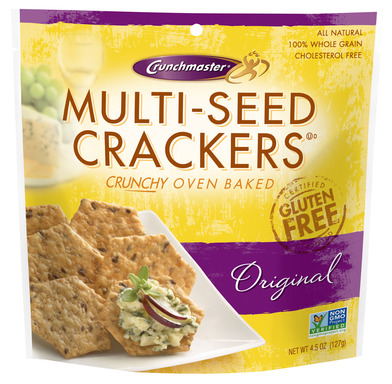 "Crunchmaster, the ""Crunch You Crave"". Our Certified Gluten Free Multi-Seed crackers are available in 3 delicious flavors: Original, Roasted Garlic and Rosemary & Olive Oil."