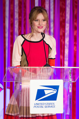 Actress Bella Thorne speaks at the U.S. Postal Service's first-day-of-issue ceremony for the Love stamp in New York City.