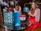 Sarah Jessica Parker showcases one of the gift boxes in her new Hallmark collection, which includes greeting cards, stationery and gift wrap, available exclusively at Hallmark Gold Crown stores.