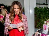 Sarah Jessica Parker admires one of 70 greeting cards in her new Hallmark collection including greetings for birthday, wedding, baby and many more, available exclusively at Hallmark Gold Crown stores.
