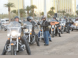 Harley Owners Group members rev their engines to signal the ground shaking for the new Las Vegas Harley-Davidson dealership on the Las Vegas Strip Photo Credit: Las Vegas Photo & Video, Inc.