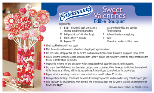 Entenmann's Sweet Valentine Edible Bouquet Recipe Card