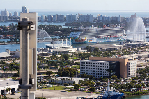 As Norwegian Getaway enters Port Miami, it switches from satellite to terrestrial broadband connectivity via this access point on top of a building.