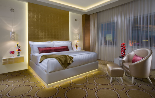 Bedroom in Sky Villa Suite at The New Tropicana resort in Las Vegas