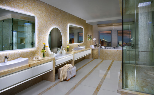 Bathroom in Sky Villa Suite at The New Tropicana resort in Las Vegas