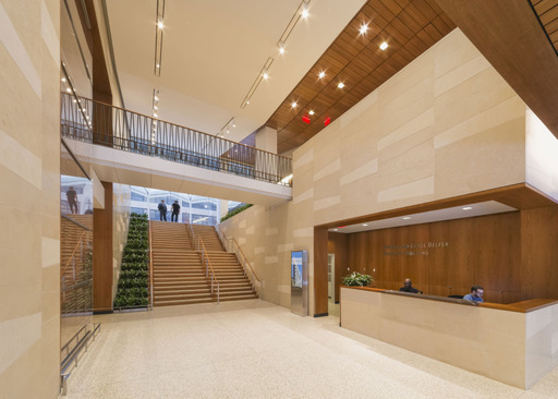 The lobby of the Belfer Research Building