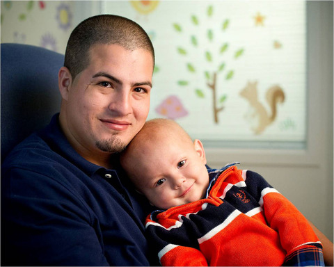 St. Jude Patient Dionisio next to his dad