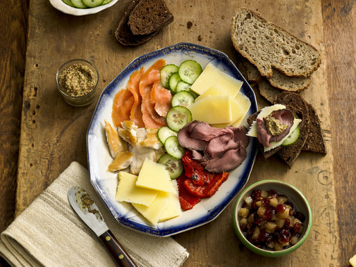 For an easy St. Patrick's Day celebration, just assemble a market plate of Irish cheeses, cold meats and smoked fish, along with condiments and bread.