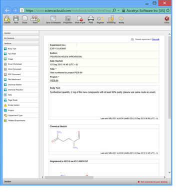 Use Accelrys Notebook with ScienceCloud for experiment and IP capture
