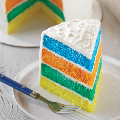 Pillsbury® Funfetti® Bright and Bold Layer Cake featuring Funfetti Aqua Blue, Orange All Star™, Neon Yellow and Vibrant Green Cupcake & Cake Mix