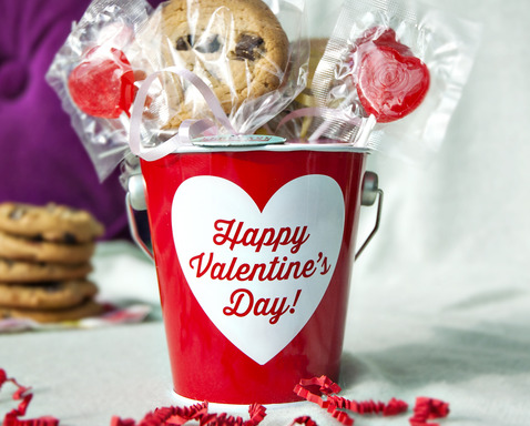 Gift Idea #1: A bucket full of love! Fill a small colorful pail with treats and decorations