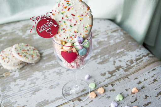 Gift Idea #3:  Two presents in one!  Decorate a wine glass and fill with delicious cookies