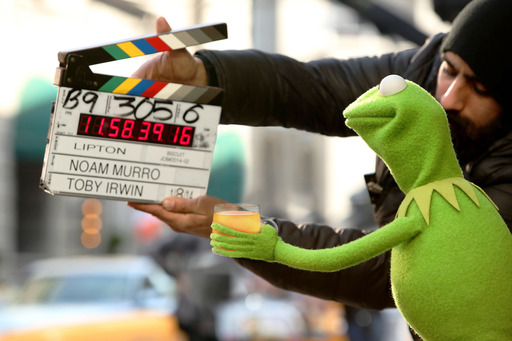 "Kermit the Frog, star of Disney's ""Muppets Most Wanted,"" behind-the-scenes of Lipton's ""Be More Tea™"" ad, debuting during the Academy Awards, March 2, 2014."