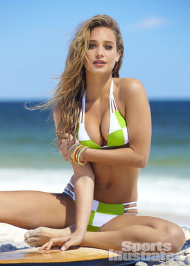 2014 Sports Illustrated Swimsuit model Hannah Davis photographed by Ben Watts for Sports Illustrated on the beaches of Island Beach State Park, New Jersey.