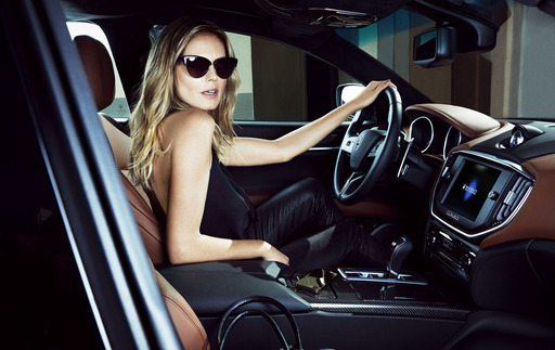 """I had a great time driving the new Maseratis for their new campaign shot by Francesco Carrizoni"" Heidi Klum pictured with the Maserati Ghibli S Q4"